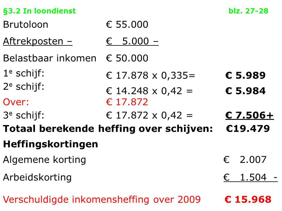 §3.2 In loondienstblz. 27-28 Brutoloon Aftrekposten – Belastbaar inkomen € 55.000 € 5.000 – € 50.000 1 e schijf: € 17.878 x 0,335=€ 5.989 2 e schijf: