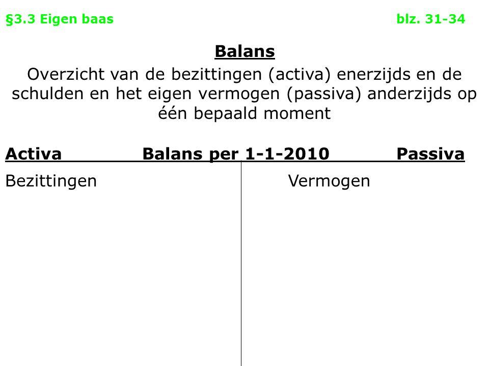 §3.3 Eigen baasblz. 31-34 Activa Balans per 1-1-2010Passiva BezittingenVermogen Balans Overzicht van de bezittingen (activa) enerzijds en de schulden