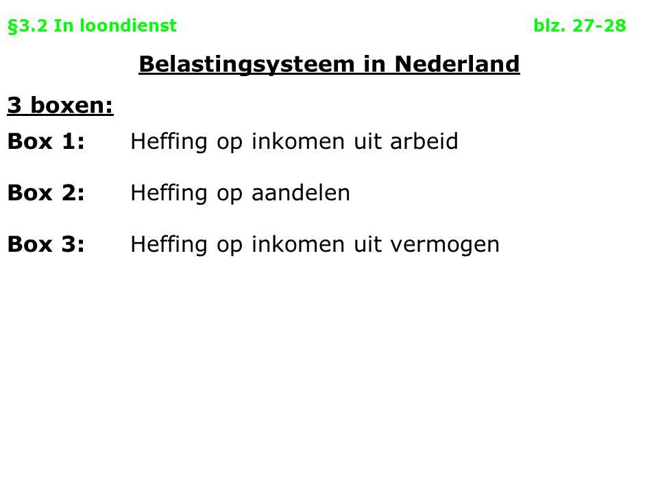 §3.2 In loondienstblz. 27-28 3 boxen: Box 1: Belastingsysteem in Nederland Heffing op inkomen uit arbeid Box 2:Heffing op aandelen Box 3:Heffing op in