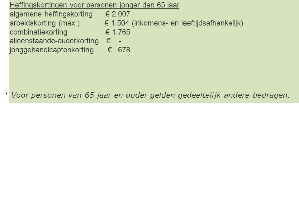 Heffingskortingen voor personen jonger dan 65 jaar algemene heffingskorting € 2.007 arbeidskorting (max.) € 1.504 (inkomens- en leeftijdsafhankelijk)