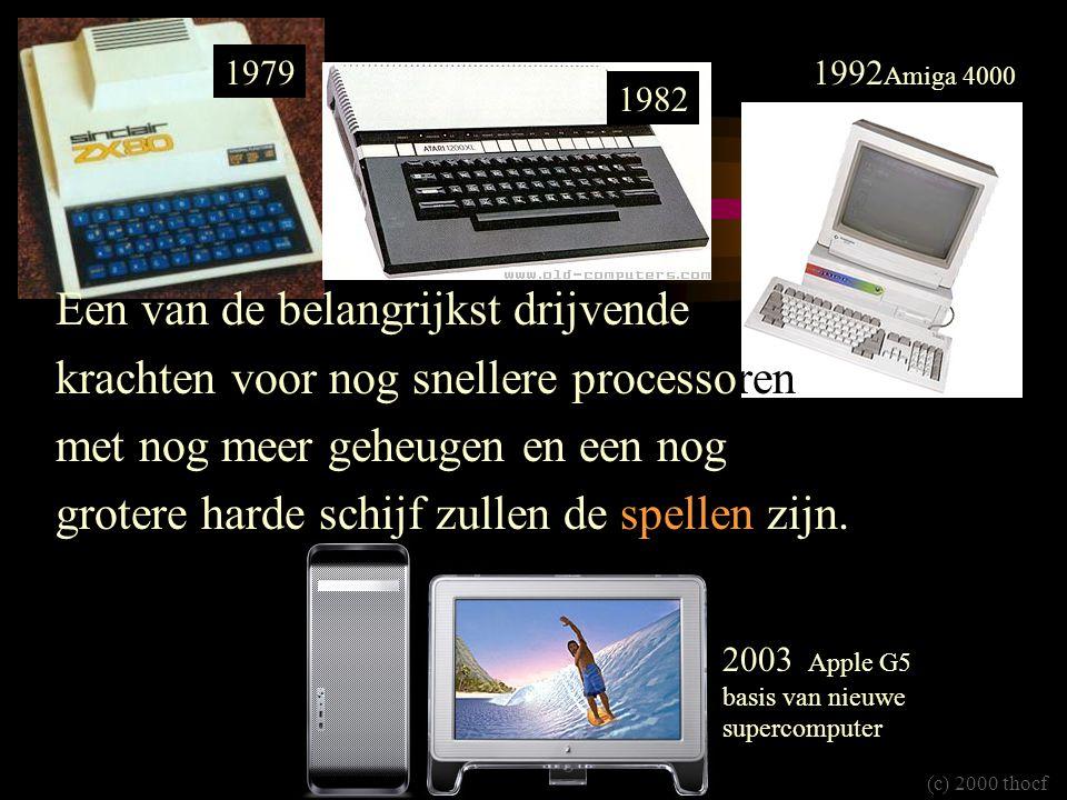 (c) 2000 thocf 1979 1982 1992 Amiga 4000 Een van de belangrijkst drijvende krachten voor nog snellere processoren met nog meer geheugen en een nog grotere harde schijf zullen de spellen zijn.
