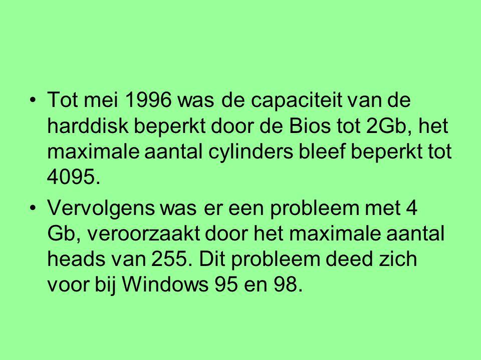 Tot mei 1996 was de capaciteit van de harddisk beperkt door de Bios tot 2Gb, het maximale aantal cylinders bleef beperkt tot 4095.