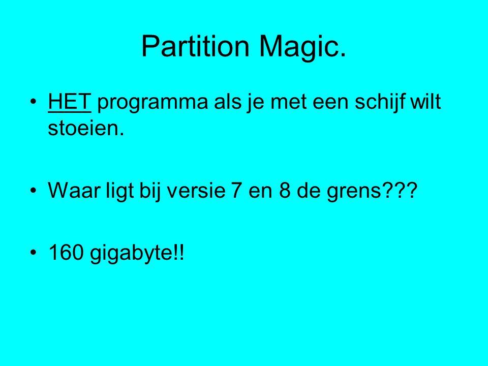 Partition Magic.HET programma als je met een schijf wilt stoeien.