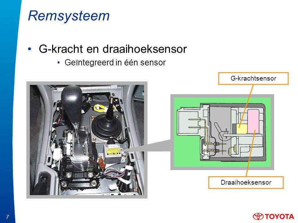 7 Remsysteem G-kracht en draaihoeksensor Geïntegreerd in één sensor G-krachtsensor Draaihoeksensor
