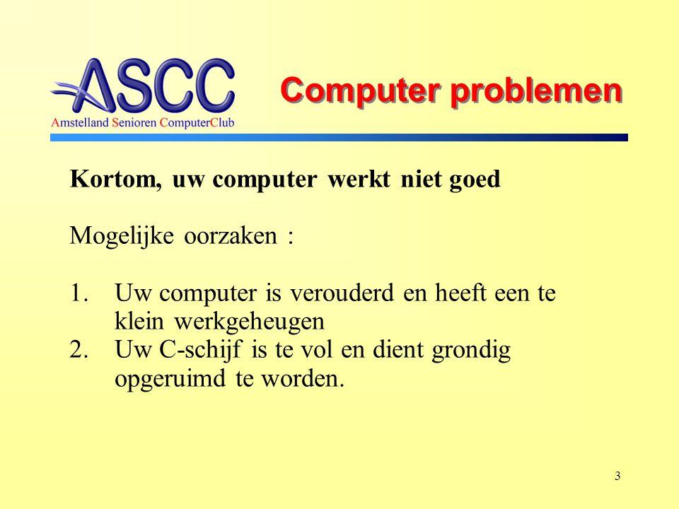 3 Computer problemen Kortom, uw computer werkt niet goed Mogelijke oorzaken : 1.Uw computer is verouderd en heeft een te klein werkgeheugen 2.