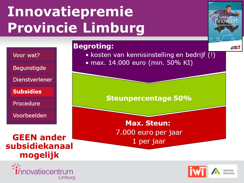 Dienstverlener Begunstigde Subsidies Procedure Voorbeelden Voor wat? Innovatiepremie Provincie Limburg Begroting: kosten van kennisinstelling en bedri