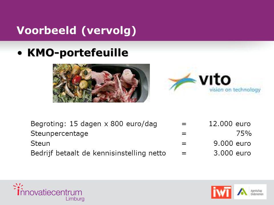 KMO-portefeuilleKMO-portefeuille Begroting: 15 dagen x 800 euro/dag=12.000 euro Steunpercentage=75% Steun= 9.000 euro Bedrijf betaalt de kennisinstell