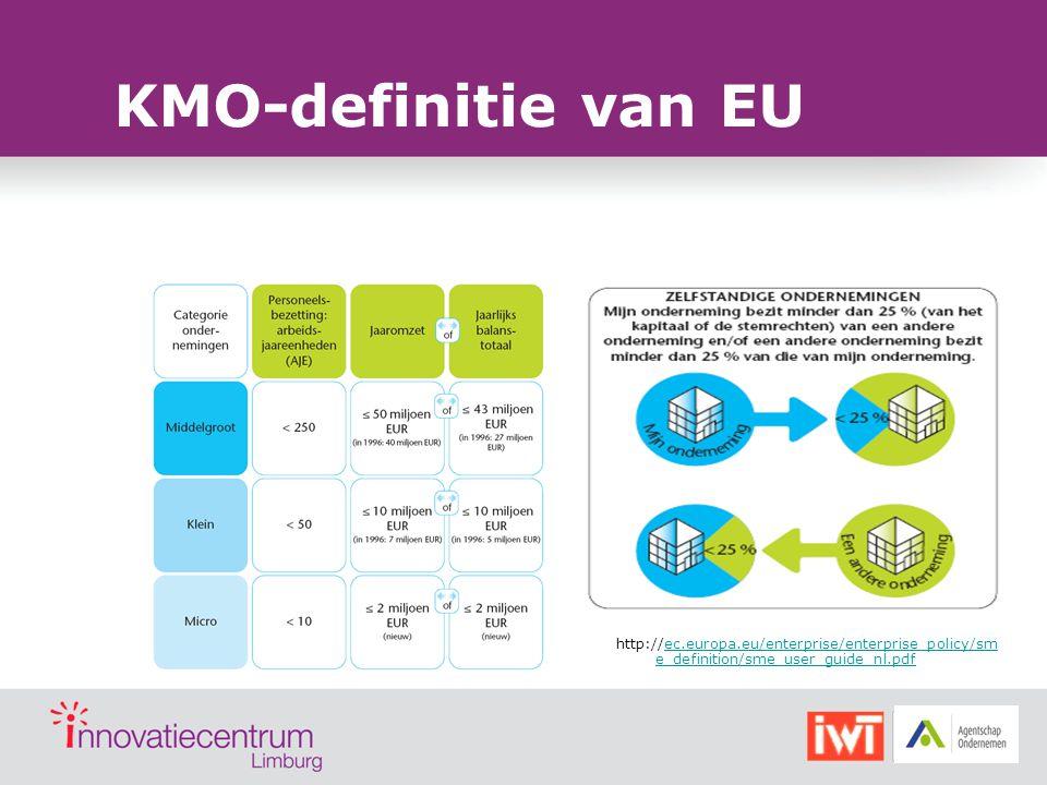KMO-definitie van EU http://ec.europa.eu/enterprise/enterprise_policy/sm e_definition/sme_user_guide_nl.pdfec.europa.eu/enterprise/enterprise_policy/s