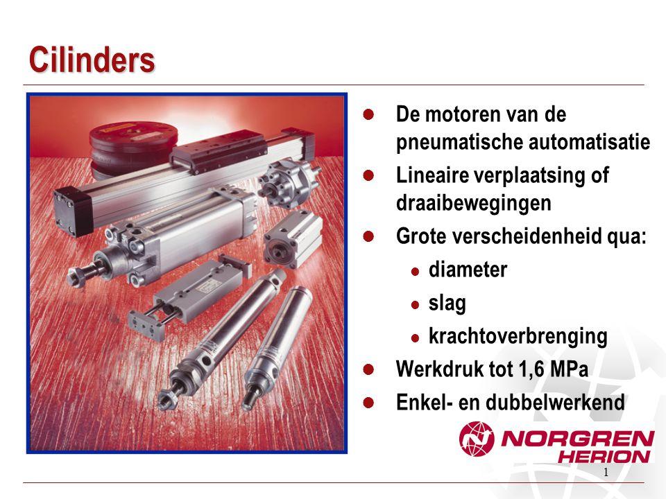 1 Cilinders De motoren van de pneumatische automatisatie Lineaire verplaatsing of draaibewegingen Grote verscheidenheid qua: diameter slag krachtoverb