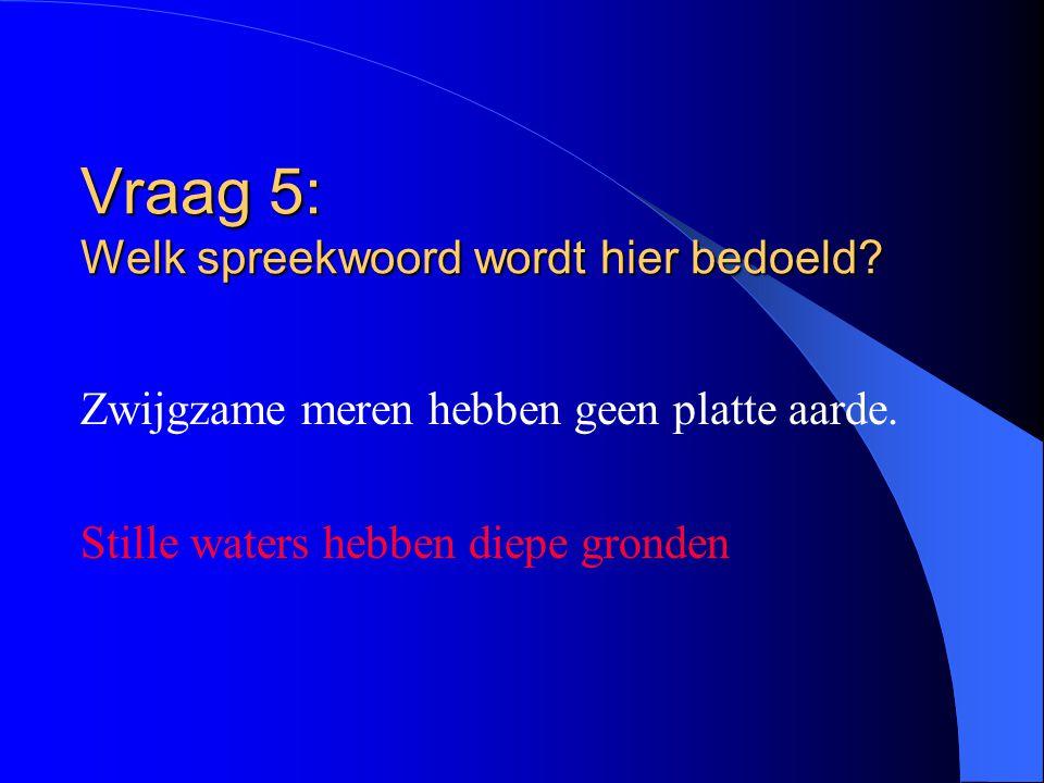 Vraag 5: Welk spreekwoord wordt hier bedoeld? Zwijgzame meren hebben geen platte aarde. Stille waters hebben diepe gronden