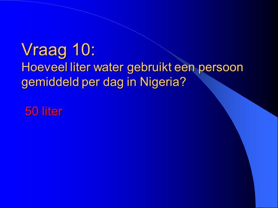 Vraag 10: Hoeveel liter water gebruikt een persoon gemiddeld per dag in Nigeria? 50 liter