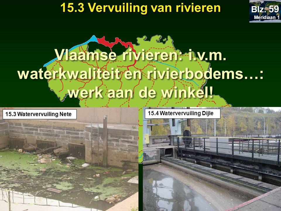 Meridiaan 1 Meridiaan 1 Blz. 59 15.3 Vervuiling van rivieren 15.3 Watervervuiling Nete 15.4 Watervervuiling Dijle Vlaamse rivieren: i.v.m. waterkwalit