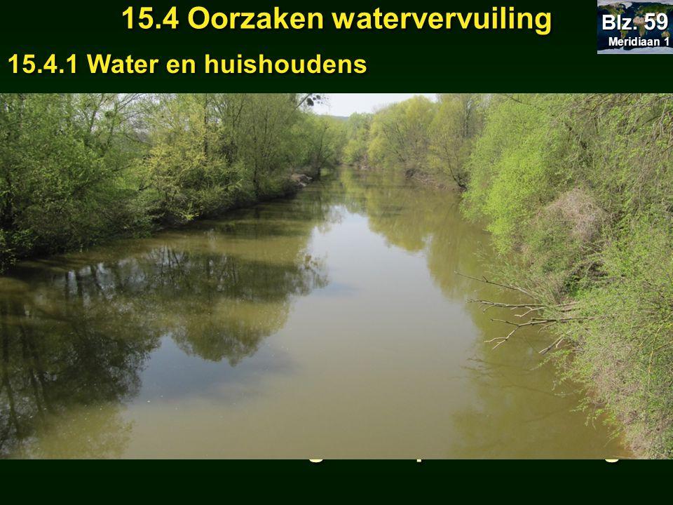 Meridiaan 1 Meridiaan 1 Blz. 59 Huishoudelijk afvalwater 15.4 Oorzaken watervervuiling 15.4.1 Water en huishoudens = voedingsstoffen voor planten = ei