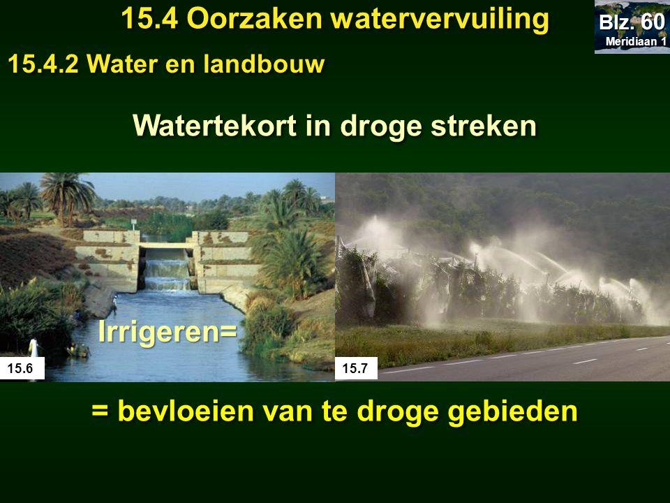 Meridiaan 1 Meridiaan 1 Blz. 60 15.4 Oorzaken watervervuiling 15.4.2 Water en landbouw Watertekort in droge streken 15.615.7 Irrigeren= = bevloeien va