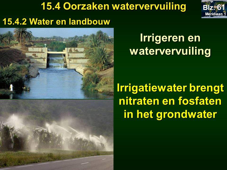 Meridiaan 1 Meridiaan 1 Blz. 61 15.4 Oorzaken watervervuiling 15.4.2 Water en landbouw Irrigeren en watervervuiling Irrigatiewater brengt nitraten en