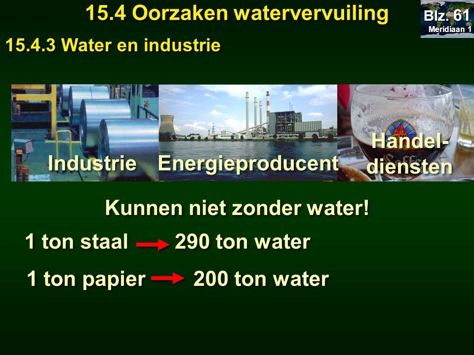 Meridiaan 1 Meridiaan 1 Blz. 61 15.4 Oorzaken watervervuiling 15.4.3 Water en industrie Industrie Energieproducent Handel- diensten Kunnen niet zonder