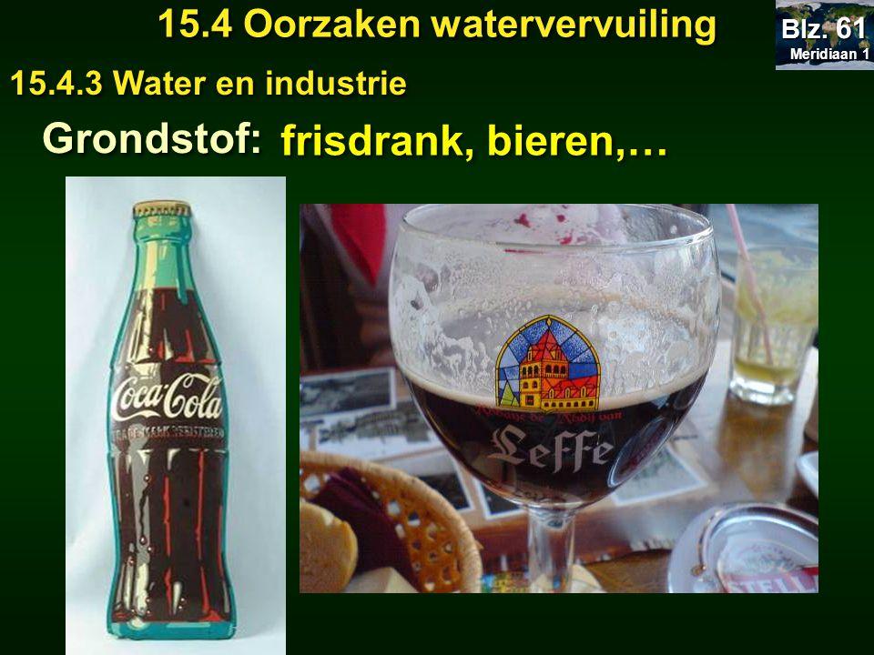 Meridiaan 1 Meridiaan 1 Blz. 61 15.4 Oorzaken watervervuiling 15.4.3 Water en industrie Grondstof: frisdrank, bieren,…