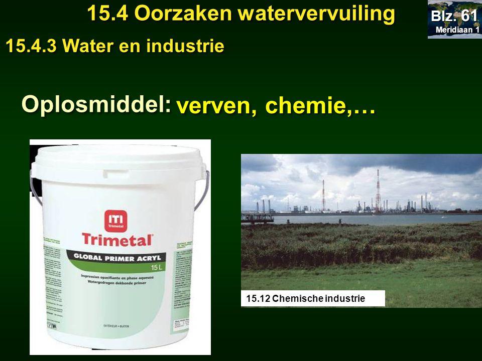Meridiaan 1 Meridiaan 1 Blz. 61 15.4 Oorzaken watervervuiling 15.4.3 Water en industrie Oplosmiddel: verven, chemie,… 15.12 Chemische industrie