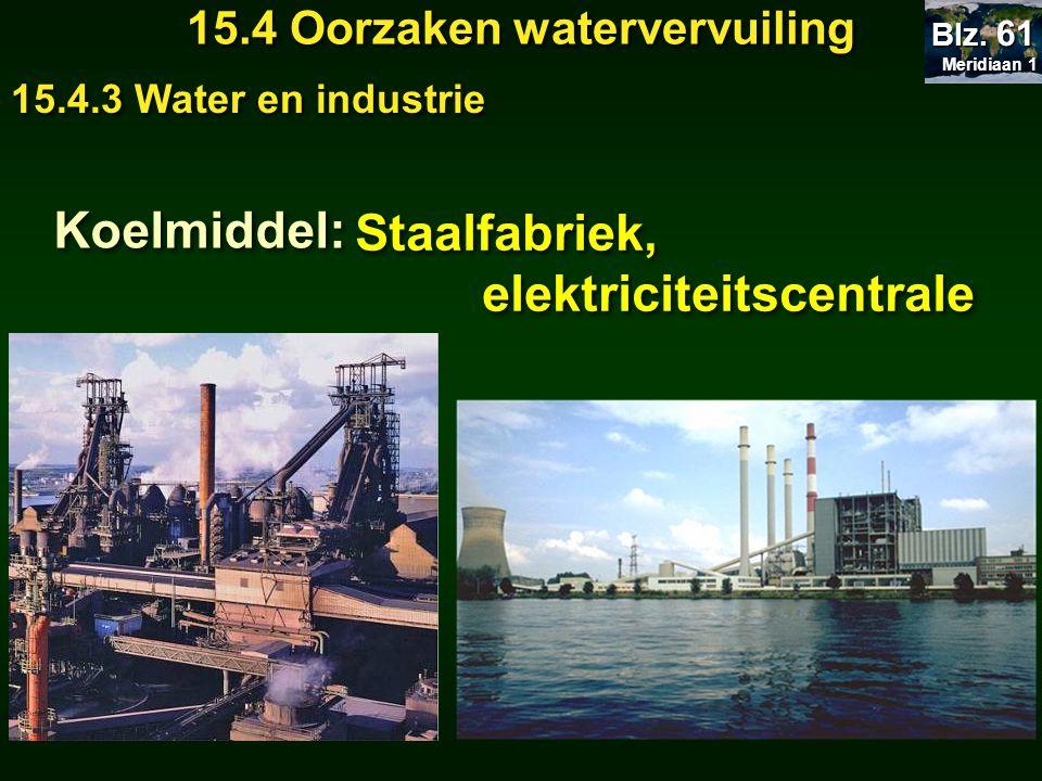Meridiaan 1 Meridiaan 1 Blz. 61 15.4 Oorzaken watervervuiling 15.4.3 Water en industrie Koelmiddel: Staalfabriek, elektriciteitscentrale Staalfabriek,