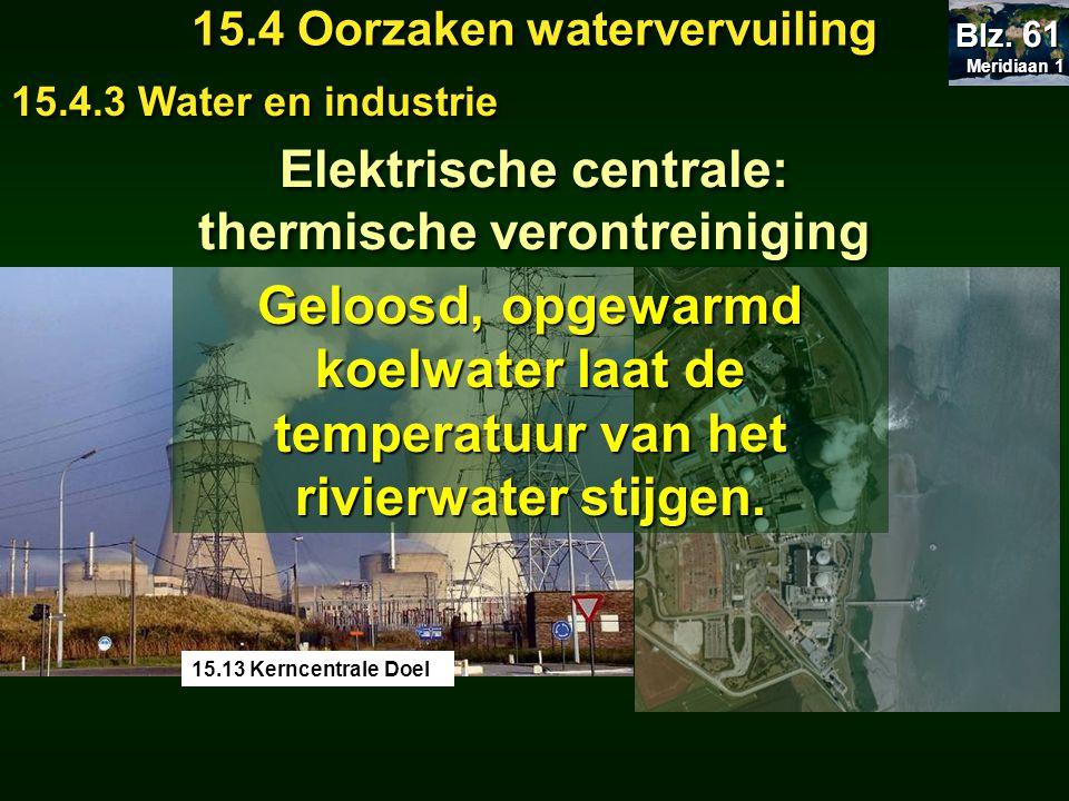 Meridiaan 1 Meridiaan 1 Blz. 61 15.4 Oorzaken watervervuiling 15.4.3 Water en industrie Elektrische centrale: thermische verontreiniging Elektrische c