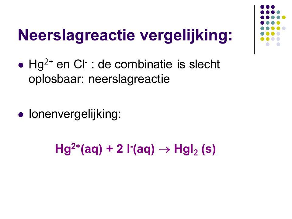 Neerslagreactie vergelijking: Hg 2+ en Cl - : de combinatie is slecht oplosbaar: neerslagreactie Ionenvergelijking: Hg 2+ (aq) + 2 l - (aq)  Hgl 2 (s