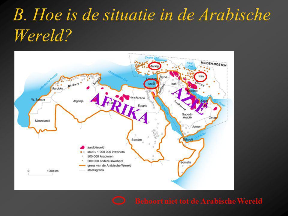 B. Hoe is de situatie in de Arabische Wereld? AFRIKA AZIË Behoort niet tot de Arabische Wereld