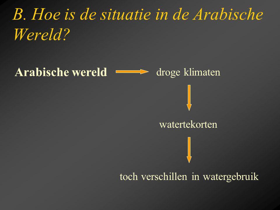 B. Hoe is de situatie in de Arabische Wereld? droge klimaten watertekorten Arabische wereld toch verschillen in watergebruik