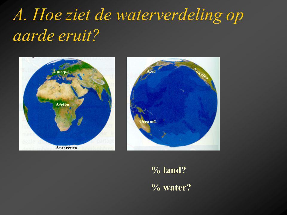 A. Hoe ziet de waterverdeling op aarde eruit? % land? % water? Europa Afrika Antarctica Azië Amerika Oceanië
