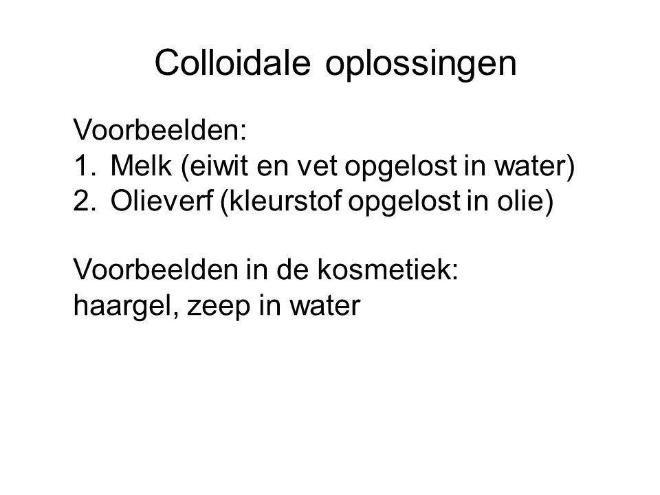 Colloidale oplossingen Voorbeelden: 1.Melk (eiwit en vet opgelost in water) 2.Olieverf (kleurstof opgelost in olie) Voorbeelden in de kosmetiek: haarg