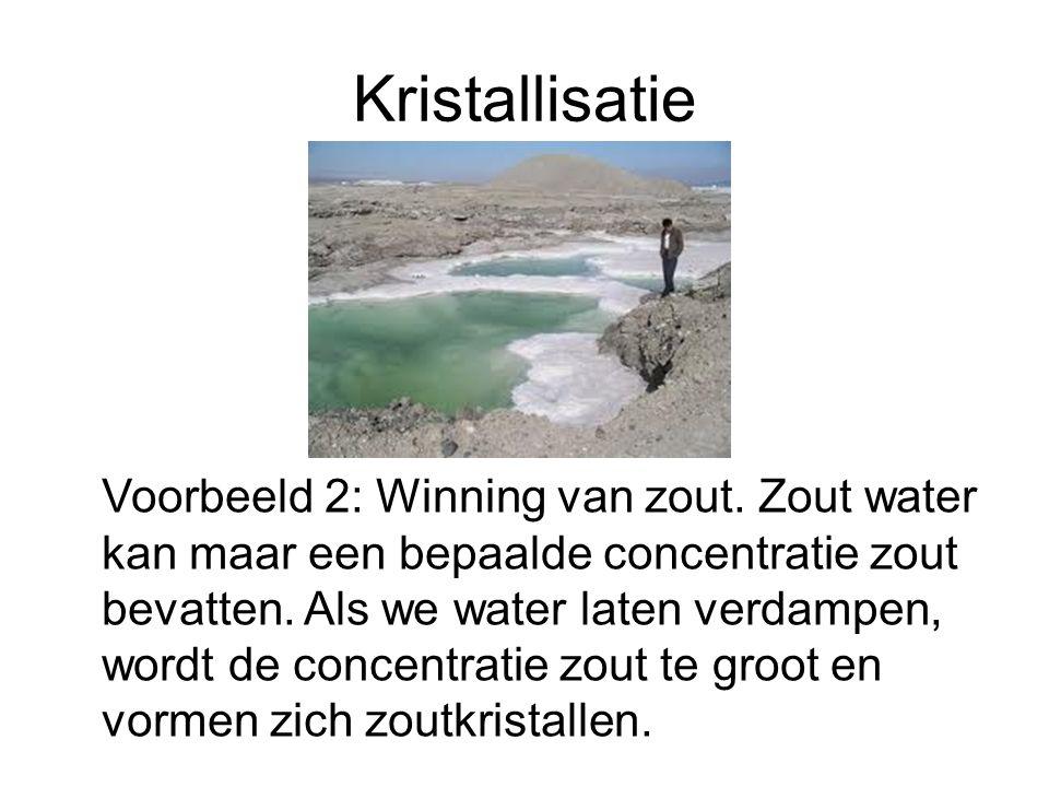 Kristallisatie Voorbeeld 2: Winning van zout. Zout water kan maar een bepaalde concentratie zout bevatten. Als we water laten verdampen, wordt de conc