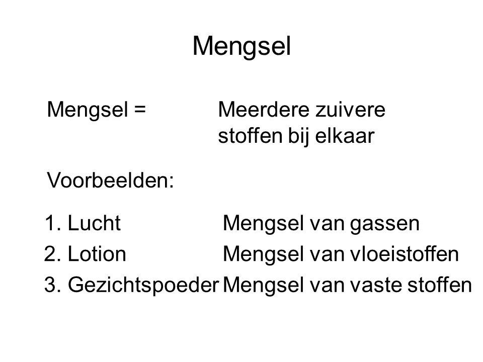 Mengsel Mengsel =Meerdere zuivere stoffen bij elkaar 1. Lucht 2. Lotion 3. Gezichtspoeder Voorbeelden: Mengsel van gassen Mengsel van vloeistoffen Men