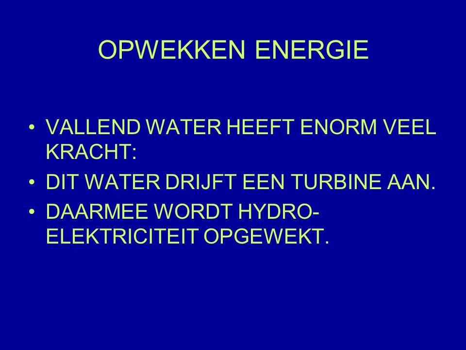OPWEKKEN ENERGIE VALLEND WATER HEEFT ENORM VEEL KRACHT: DIT WATER DRIJFT EEN TURBINE AAN.
