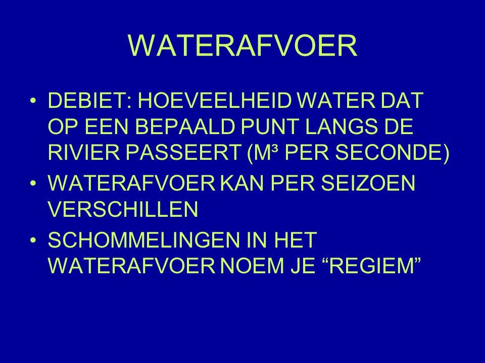 WATERAFVOER DEBIET: HOEVEELHEID WATER DAT OP EEN BEPAALD PUNT LANGS DE RIVIER PASSEERT (M³ PER SECONDE) WATERAFVOER KAN PER SEIZOEN VERSCHILLEN SCHOMMELINGEN IN HET WATERAFVOER NOEM JE REGIEM