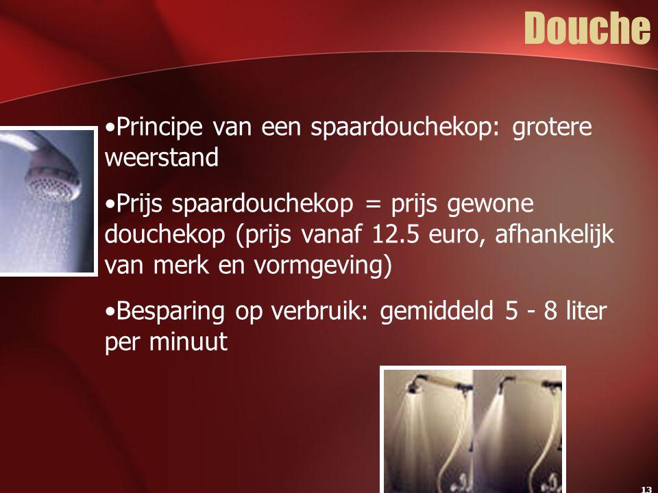 13 Douche Principe van een spaardouchekop: grotere weerstand Prijs spaardouchekop = prijs gewone douchekop (prijs vanaf 12.5 euro, afhankelijk van mer
