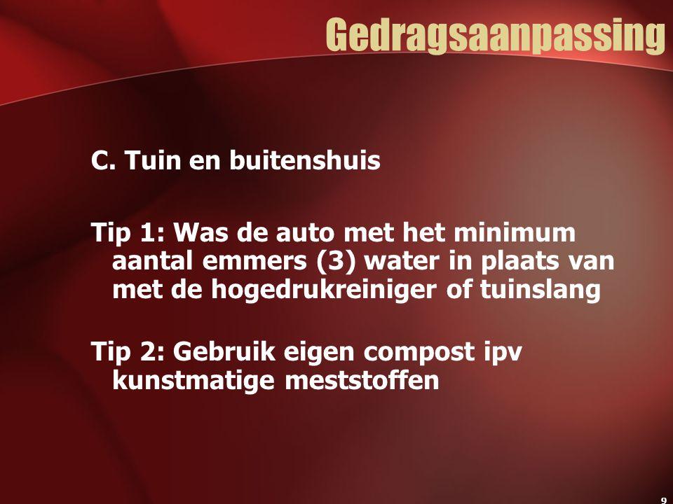 9 Gedragsaanpassing C. Tuin en buitenshuis Tip 1: Was de auto met het minimum aantal emmers (3) water in plaats van met de hogedrukreiniger of tuinsla