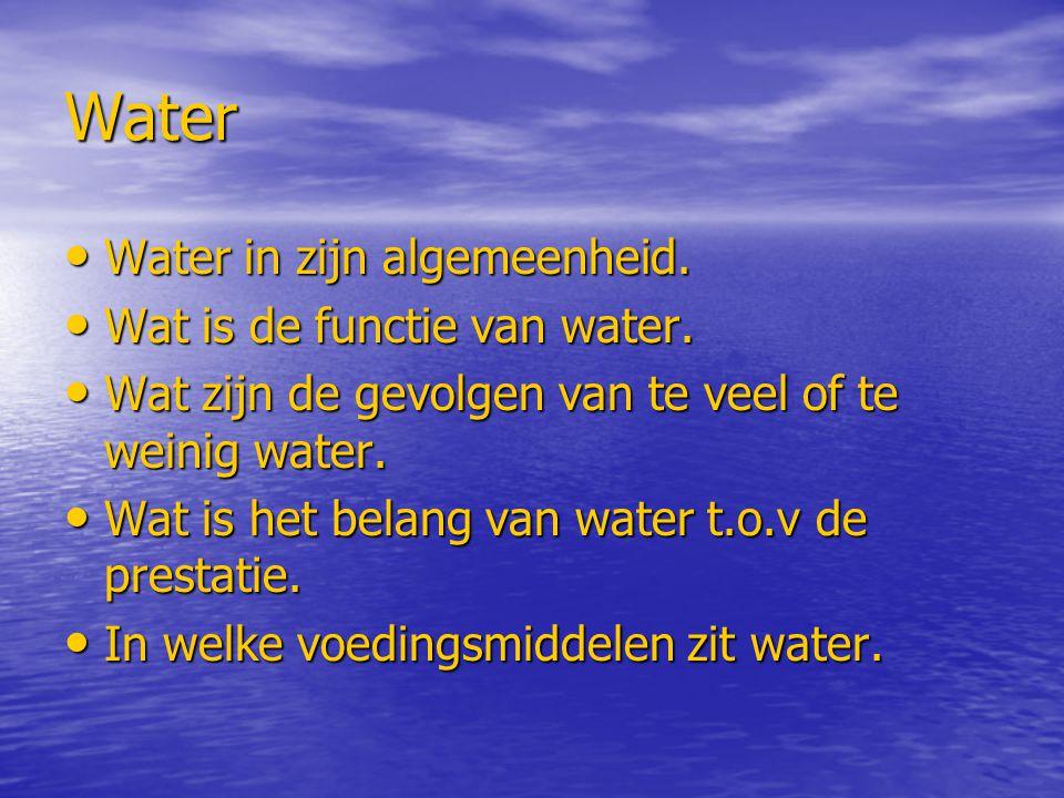 Water Water in zijn algemeenheid. Water in zijn algemeenheid. Wat is de functie van water. Wat is de functie van water. Wat zijn de gevolgen van te ve