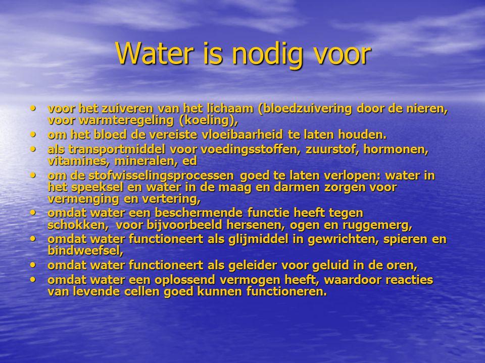Water is nodig voor voor het zuiveren van het lichaam (bloedzuivering door de nieren, voor warmteregeling (koeling), voor het zuiveren van het lichaam