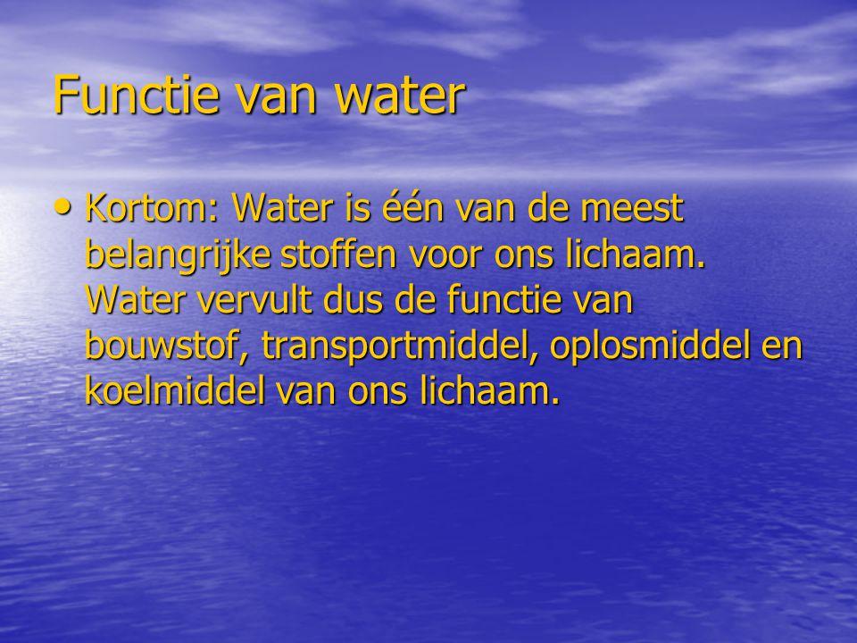 Functie van water Kortom: Water is één van de meest belangrijke stoffen voor ons lichaam. Water vervult dus de functie van bouwstof, transportmiddel,