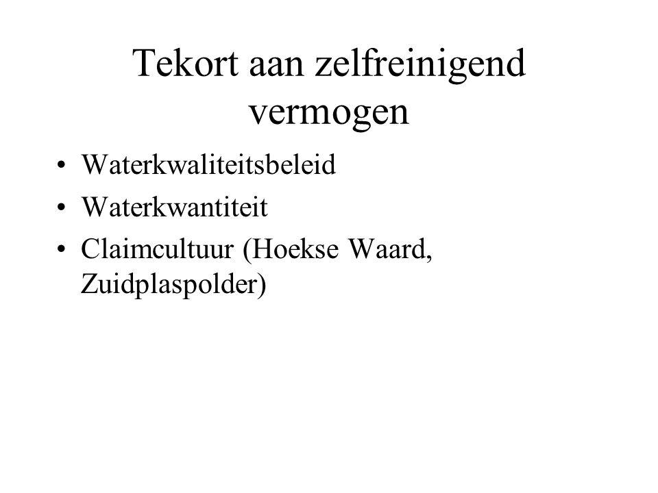 Tekort aan zelfreinigend vermogen Waterkwaliteitsbeleid Waterkwantiteit Claimcultuur (Hoekse Waard, Zuidplaspolder)