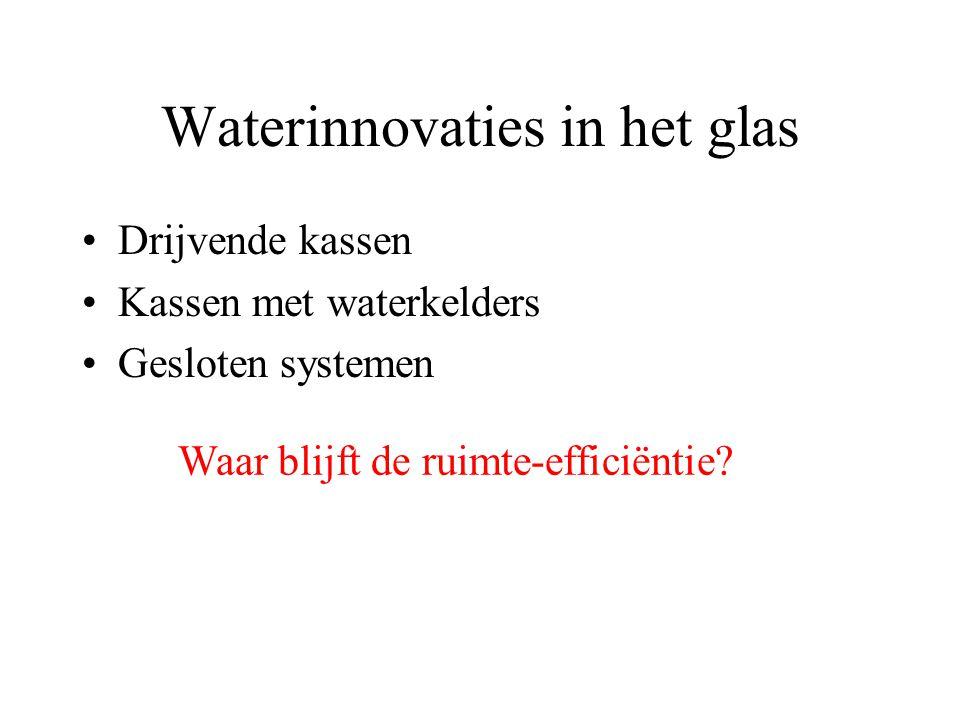 Waterinnovaties in het glas Drijvende kassen Kassen met waterkelders Gesloten systemen Waar blijft de ruimte-efficiëntie
