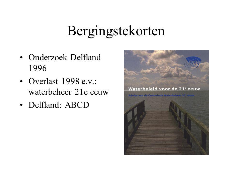 Bergingstekorten Onderzoek Delfland 1996 Overlast 1998 e.v.: waterbeheer 21e eeuw Delfland: ABCD