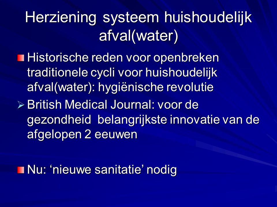 Herziening systeem huishoudelijk afval(water) Historische reden voor openbreken traditionele cycli voor huishoudelijk afval(water): hygiënische revolu