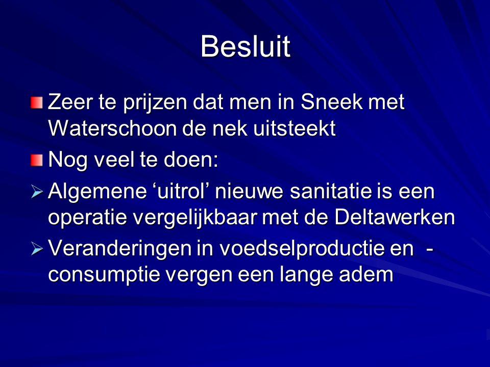Besluit Zeer te prijzen dat men in Sneek met Waterschoon de nek uitsteekt Nog veel te doen:  Algemene 'uitrol' nieuwe sanitatie is een operatie verge