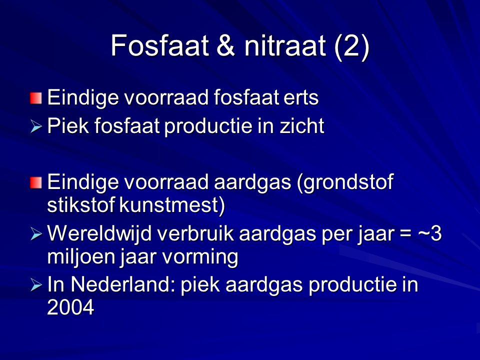 Fosfaat & nitraat (2) Eindige voorraad fosfaat erts  Piek fosfaat productie in zicht Eindige voorraad aardgas (grondstof stikstof kunstmest)  Wereld