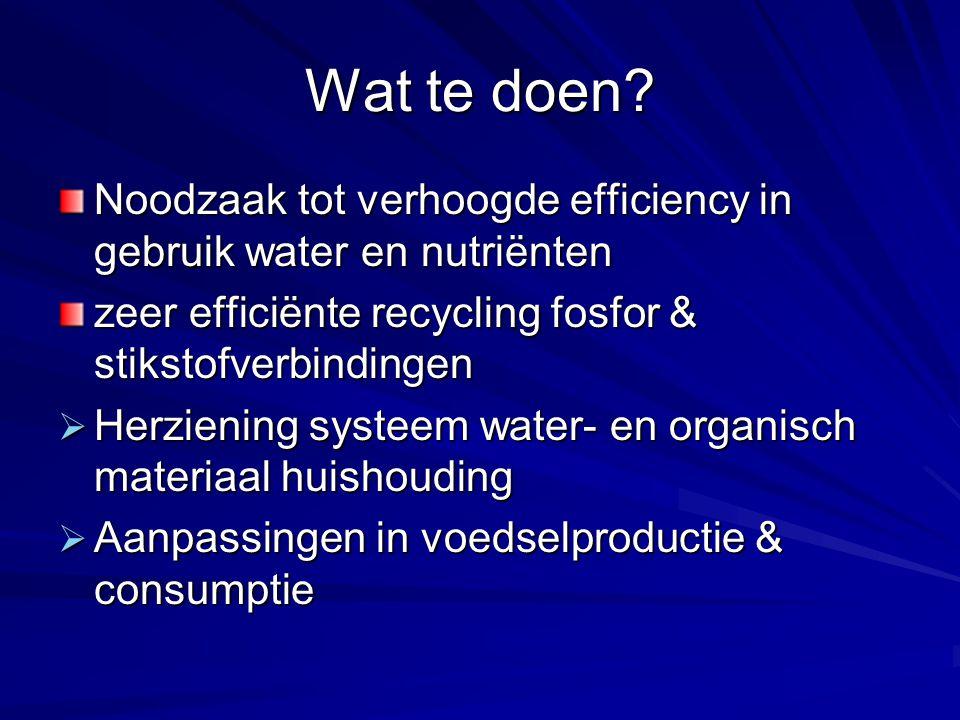 Wat te doen? Noodzaak tot verhoogde efficiency in gebruik water en nutriënten zeer efficiënte recycling fosfor & stikstofverbindingen  Herziening sys