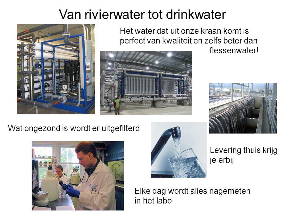 Van rivierwater tot drinkwater Het water dat uit onze kraan komt is perfect van kwaliteit en zelfs beter dan flessenwater.