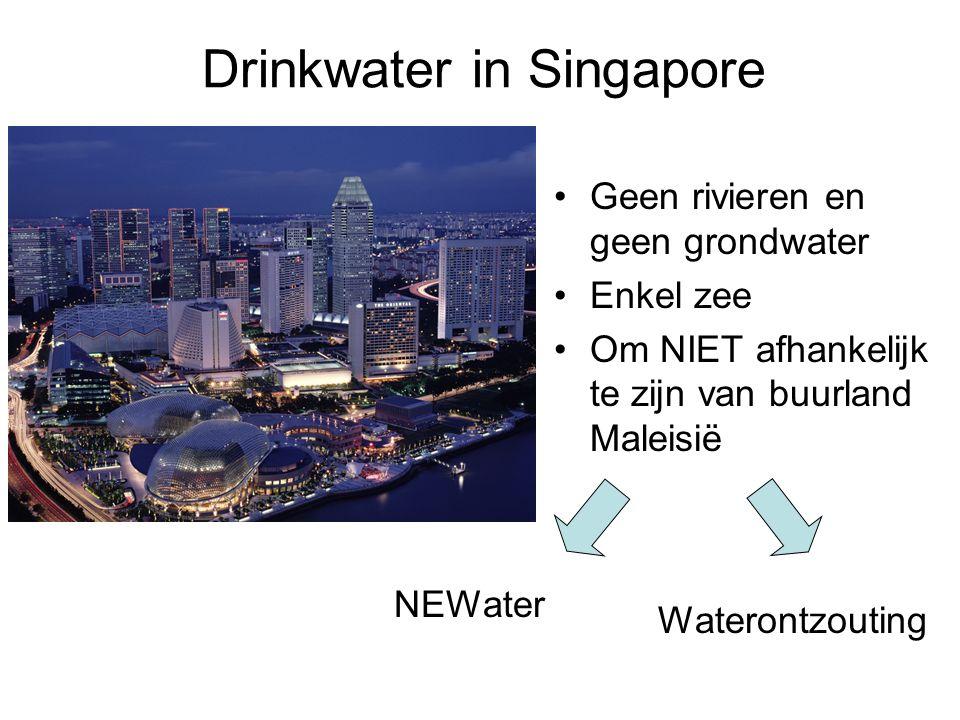 Geen rivieren en geen grondwater Enkel zee Om NIET afhankelijk te zijn van buurland Maleisië Drinkwater in Singapore Waterontzouting NEWater
