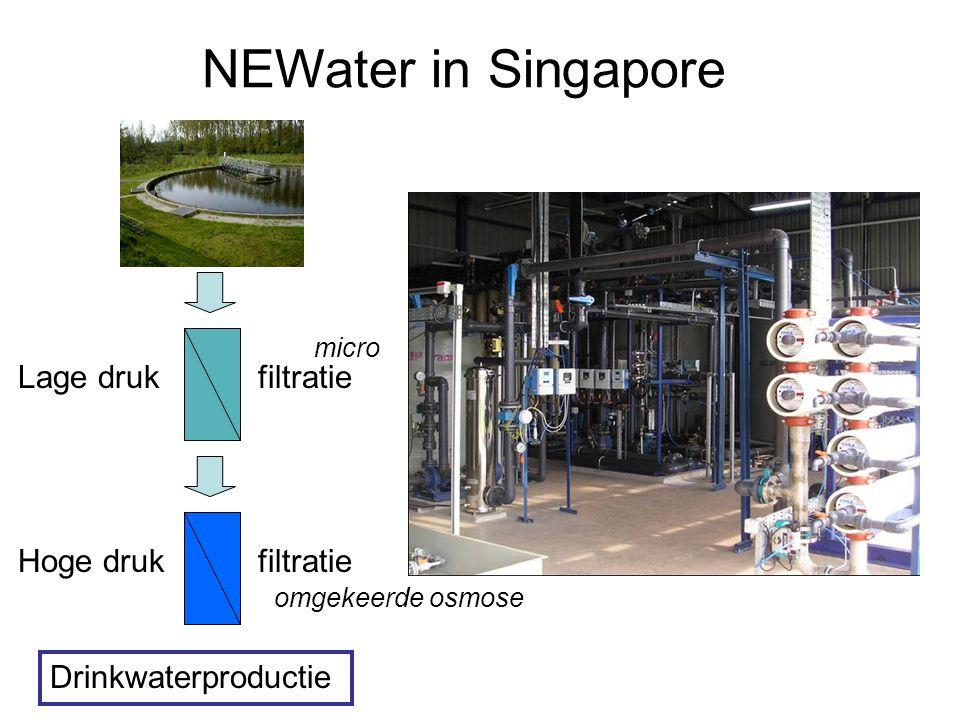 NEWater in Singapore Drinkwaterproductie Lage drukfiltratie Hoge drukfiltratie micro omgekeerde osmose