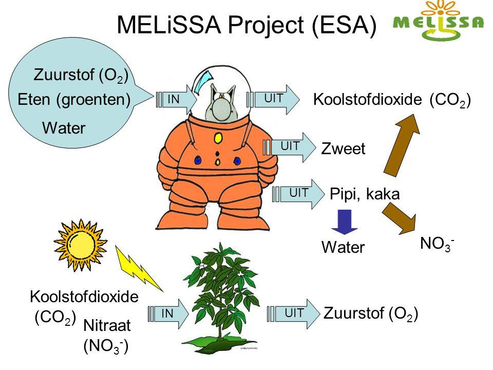 MELiSSA Project (ESA) IN UIT Zuurstof (O 2 ) Eten (groenten) Water Koolstofdioxide (CO 2 ) Zweet Pipi, kaka Koolstofdioxide (CO 2 ) Zuurstof (O 2 ) IN UIT Water Nitraat (NO 3 - ) NO 3 -