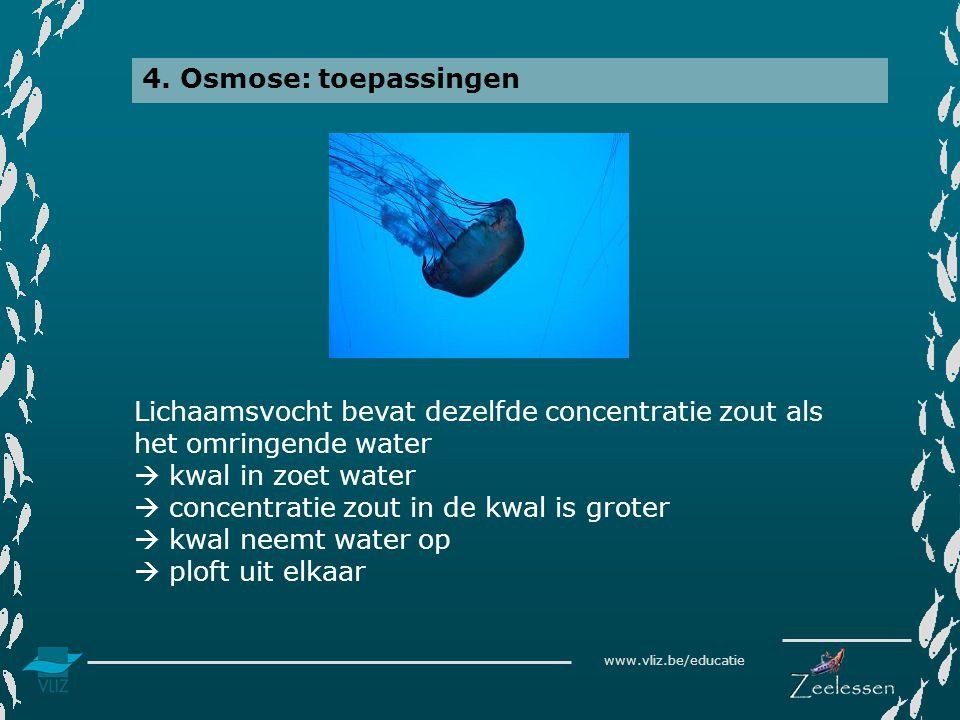 www.vliz.be/educatie 4. Osmose: toepassingen Lichaamsvocht bevat dezelfde concentratie zout als het omringende water  kwal in zoet water  concentrat